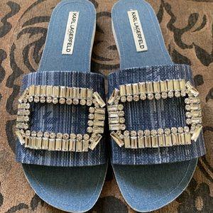 Karl Lagerfeld Paris Blue Denim Sandals
